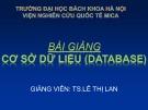 Bài giảng Cơ sở dữ liệu (Database): Chương 1 - TS. Lê Thị Lan