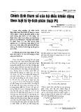 Chỉnh định tham số của bộ điều khiển động theo luật tỷ lệ-tích phân (luật PI)