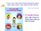 Bài giảng Pháp luật Việt Nam về bảo đảm bình đẳng giới trong việc thực hiện quyền trẻ em - TS. Nguyễn Thị Báo