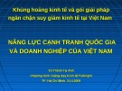 Bài giảng Năng lực cạnh tranh quốc gia và doanh nghiệp của Việt Nam - Vũ Thành Tự Anh