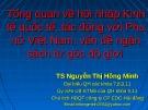 Bài giảng Tổng quan về hội nhập kinh tế quốc tế, tác động với phụ nữ Việt Nam, vấn đề ngân sách từ góc độ giới - TS. Nguyễn Thị Hồng Minh