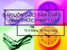 Bài giảng Nguồn gốc - Bản chất - Hình thức pháp luật - ThS. Đặng Thị Thu Trang