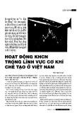 Hoạt động khoa học công nghệ trong lĩnh vực cơ khí chế tạo ở Việt Nam
