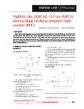 Nghiên cứu thiết kế, chế tạo thiết bị hàn tự động sử dụng program logic control (PLC)
