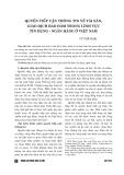 Quyền tiếp cận thông tin về tài sản, giao dịch bảo đảm trong lĩnh vực tín dụng - ngân hàng ở Việt Nam
