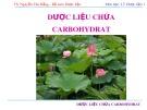 Bài giảng Lý thuyết dược liệu 1: Dược liệu chứa carbohydrat - TS. Nguyễn Thị Thu Hằng
