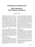 Introduction to Special Issue wood Adhesives: Past, Present and Future
