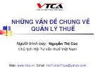 Bài giảng Những vấn đề chung về quản lý thuế - Nguyễn Thị Cúc