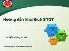 Bài giảng Hướng dẫn khai thuế GTGT