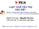 Bài giảng Luật Thuế tiêu thụ đặc biệt - Nguyễn Thị Cúc