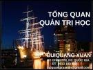 Bài giảng Tổng quan quản trị học - TS. Bùi Quang Xuân