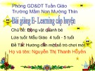 Bài giảng E-learning chủ đề: Động vật quang bé - Nguyễn Thị Thanh Huyền