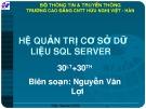 Bài giảng Hệ quản trị cơ sở dữ liệu SQL Server - Nguyễn Văn Lợi