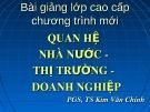 Bài giảng Quan hệ Nhà nước - thị trường - doanh nghiệp - PGS. TS Kim Văn Chính