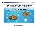 Bài giảng Các hiện tượng bề mặt và sự hấp phụ - TS. Trần Phi Hoàng Yến