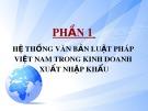Bài giảng Phần 1: Hệ thống văn bản luật pháp Việt Nam trong kinh doanh xuất nhập khẩu