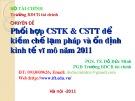 Bài giảng Chuyên đề: Phối hợp CSTK & CSTT để kiềm chế lạm pháp và ổn định kinh tế vĩ mô năm 2011 - PGS. TS. Đỗ Đức Minh