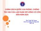 Bài giảng Chính sách quốc gia phòng, chống tác hại của lạm dụng đồ uống có cồn đến năm 2020 - ThS. Trần Thị Trang