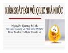 Bài giảng Kiểm soát đối với QLHC nhà nước - Nguyễn Quang Minh