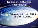 Bài giảng môn học Quản lý chất lượng: Chương 1 - ThS. Đăng Quang Hưng