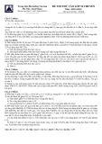 Đề thi thử vào lớp 10 năm 2015 môn: Hóa học - Trường THPT Amsterdam Hà Nội (Có đáp án)