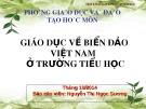 Bài giảng Giáo dục về biển đảo Việt Nam ở trường tiểu học