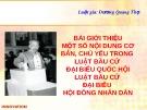 Bài giảng Bài giới thiệu một số nội dung cơ bản, chủ yếu trong Luật Bầu cử đại biểu quốc hội - Luật Bầu cử đại biểu hội đồng nhân dân - Dương Quang Thọ
