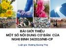 Bài giảng Bài giới thiệu một số nội dung cơ bản của Nghị định 34/2010/NĐ-CP - Dương Quang Thọ