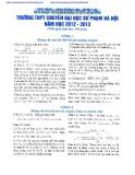Đề thi tuyển sinh vào lớp 10 môn: Toán - Trường THPT chuyên Đại học Sư phạm Hà Nội (Năm học 2012-2013)