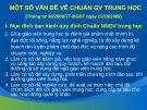 Bài giảng Một số vấn đề về chuẩn GV trung học (Thông tư 30/2009/TT-BGDT ngày 22/10/2009)