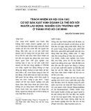 Trách nhiệm xã hội của các cơ sở sản xuất kinh doanh cá thể đối với người lao động: Nghiên cứu trường hợp ở Thành phố Hồ Chí Minh