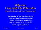 Bài giảng Nhập môn Công nghệ học phần mềm