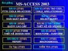 Bài giảng MS-ACCESS 2003