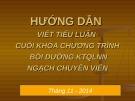 Bài giảng Hướng dẫn viết tiểu luận cuối khóa chương trình bồi dưỡng KTQLNN ngạch chuyên viên