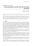 Duy trì tiếng Việt và văn hóa Việt: Phương pháp giúp học sinh học tiếng Việt như là ngôn ngữ thứ hai - Nguyễn văn Bon