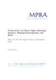 Productivity in China's high technology industry: Regional heterogeneity and R&D