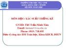 Bài giảng Xác suất thống kê: Chương 1 - ThS. Trần Thị Minh Tâm