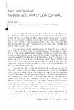 Mấy suy nghĩ về nguồn gốc tâm lý của tôn giáo - Nguyễn Đức Lữ