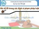Bài thuyết trình: Yếu tố lỗi trong xác định vi phạm pháp luật