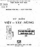 Ebook Từ điển Việt - Tày - Nùng: Phần 1