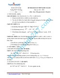 Đề thi khảo sát THPT quốc gia có đáp án môn: Toán 12 - Trường THPT Yên Lãng (Năm học 2014-2015)