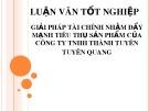 Bài thuyết trình: Giải pháp tài chính nhằm đẩy mạnh tiêu thụ sản phẩm của Công ty TNHH Thành Tuyên, Tuyên Quang