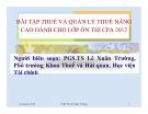 Bài tập Thuế và Quản lý thuế nâng cao dành cho lớp ôn thi CPA 2012 - PGS.TS Lê Xuân Trường