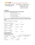 Đề thi học kỳ 1 có đáp án môn: Tiếng Anh 8 - Trường THCS Long Mỹ (Năm học 2015-2016)