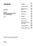 Simatic: S7-400, S7-400 Automation System, CPU Specifications