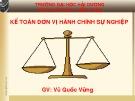 Bài giảng Kế toán đơn vị hành chính sự nghiệp: Chương 2 - Vũ Quốc Vững