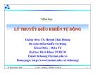 Bài giảng Lý thuyết điều khiển tự động: Chương 3 - TS. Huỳnh Thái Hoàng