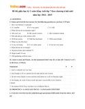 Đề thi giữa học kỳ 1 có đáp án môn: Tiếng Anh - Lớp 7 theo chương trình mới (Năm học 2014-2015)