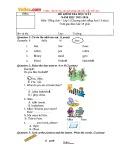 Đề thi kiểm tra học kỳ 1 có đáp án môn: Tiếng Anh 3 (Năm học 2015-2016)