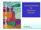 Lecture Marketing research - Chapter 14: Communicating the research results